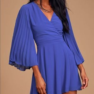 Lulus Royal Blue Pleated Skater Mini Dress NEW M